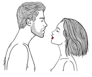 love, drawing, and couple image