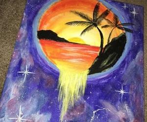 art, beach, and galaxy image