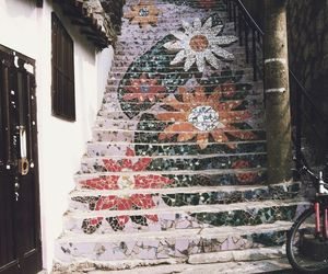 flowers, art, and stairs image