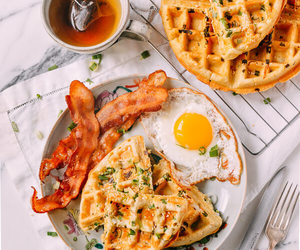 bacon, breakfast, and fried eggs image
