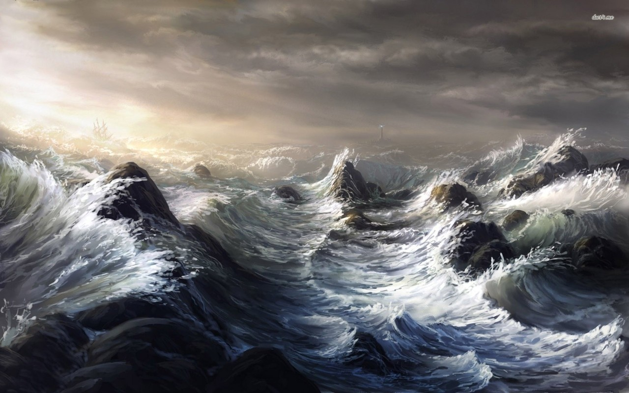 storm, waves, and wild image