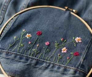 embroidery, flowers, and cute image