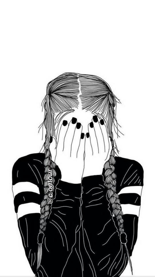 girl, black, and drawing image