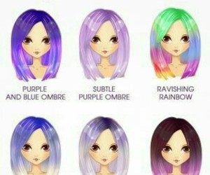colorful hair, hair, and purple image