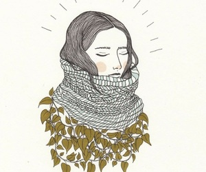girl, art, and leaves image