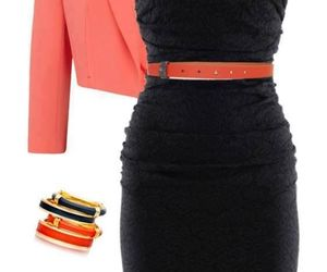 black, outfit, and coral image