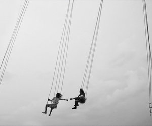 friends, sky, and black and white image