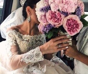 flowers, wedding, and dress image