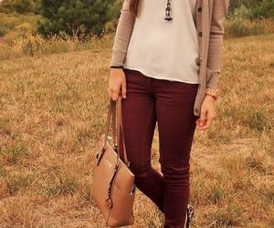 fashion, maroon, and tan image