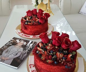 cake, red, and rose image