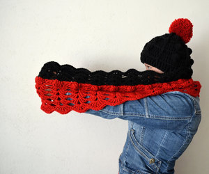 etsy, hat and scarf set, and knitted snood image