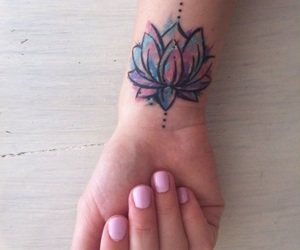 colorfull, tattoo, and lotus tattoo image