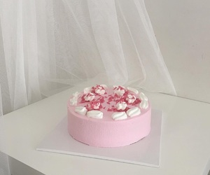 cake, pink, and delicious image