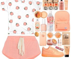 fashion, outfit, and peach image