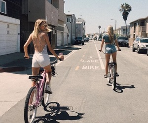 friends, fashion, and bike image
