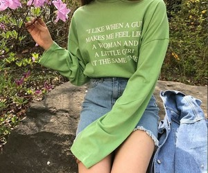 girl, green, and fashion image
