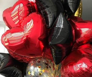 balloons, black, and party image