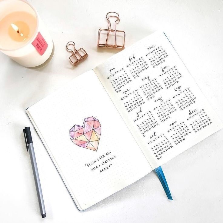 bullet, heart, and notebook image