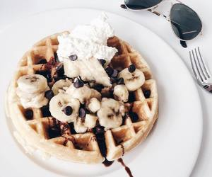 food, waffles, and banana image