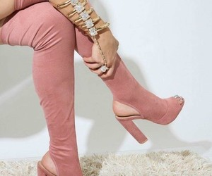 boots, pink, and fashion image