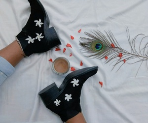 boots, flower, and peacock feather image