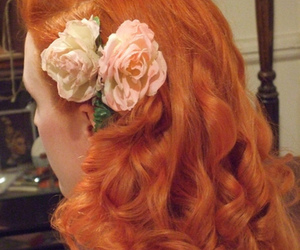 flowers, girl, and red hair image