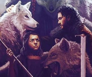 Jon, stark, and wolf image
