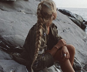blonde, seaside, and hair goals image