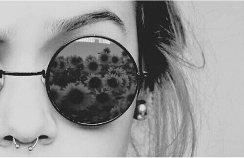 piercing, glasses, and black and white image