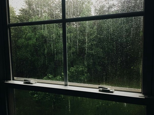 green, rain, and window image
