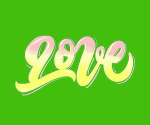green, heart, and green and yellow image