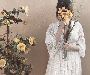 aesthetics, face, and floral image