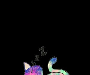 black, galaxy, and cat image