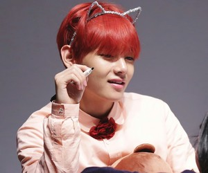 kth, strawberry tae, and red haired taehyung image