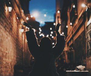 girl, light, and street image