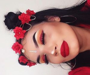 makeup, red, and flowers image