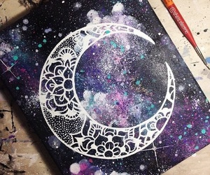 galaxy, moon, and painting image