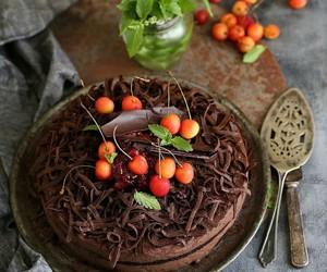 cereza, chocolate, and comida image