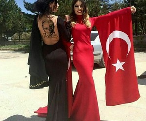 black and red, turkish girl, and tatto image