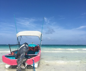 blue, boat, and pink image