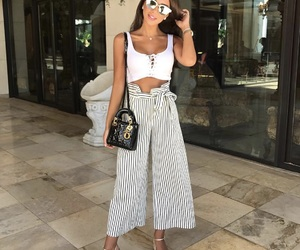 dior bag, outfit, and wide leg pants image