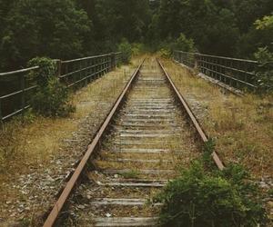 railroad tracks, train tracks, and rural life image