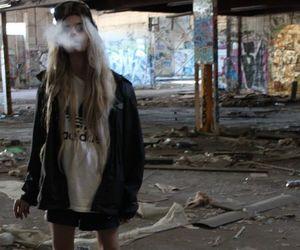 girl, smoke, and adidas image