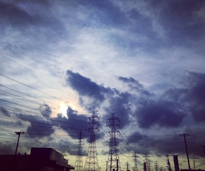 clouds, cloudy, and electric line image