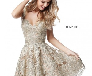 2017 Fashion Gold Sweetheart Neck Metallic Lace Sherri Hill 51521 Short A-Line Homecoming Dresses Sale
