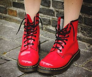 red, dr martens, and boots image