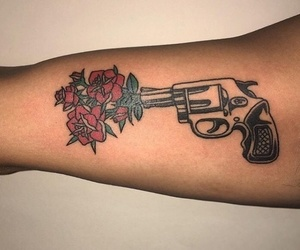 tattoo, rose, and gun image