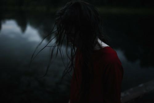 dark, red, and sad image