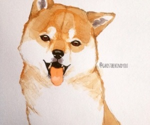 cute dog, dog, and drawing image