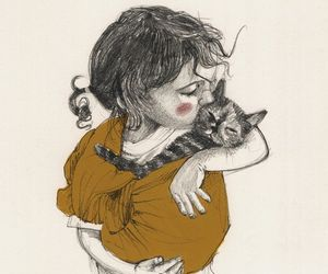 illustration, art, and cat image